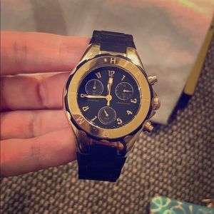 Black/ gold rubber Michele watch